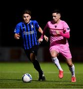 28 August 2020; Conor Crowley of Wexford and Ronan Manning of Athlone Town during the Extra.ie FAI Cup Second Round match between Athlone Town and Wexford at Athlone Town Stadium in Athlone, Westmeath. Photo by Ben McShane/Sportsfile