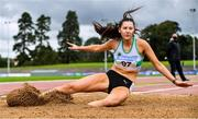 29 August 2020; Kim O'Hare of Raheny Shamrock AC, Dublin, on her way to finishing second in the Women's Triple Jump event during day three of the Irish Life Health National Senior and U23 Athletics Championships at Morton Stadium in Santry, Dublin. Photo by Sam Barnes/Sportsfile
