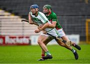 29 August 2020; Brian Cody of Ballyhale Shamrocks is tackled by Tommy Grace of Rower Inistioge during the Kilkenny County Senior Hurling Championship Round 1 match between Ballyhale Shamrocks and Rower Inistioge at UPMC Nowlan Park in Kilkenny. Photo by Seb Daly/Sportsfile