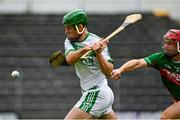 29 August 2020; Eoin Cody of Ballyhale Shamrocks shoots to score his side's second goal, despite pressure from Sean Lyster of Rower Inistioge, during the Kilkenny County Senior Hurling Championship Round 1 match between Ballyhale Shamrocks and Rower Inistioge at UPMC Nowlan Park in Kilkenny. Photo by Seb Daly/Sportsfile