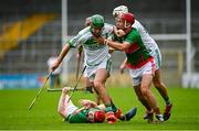 29 August 2020; Eoin Cody of Ballyhale Shamrocks in action against Sean Lyster, right, and George Murphy of Rower Inistioge during the Kilkenny County Senior Hurling Championship Round 1 match between Ballyhale Shamrocks and Rower Inistioge at UPMC Nowlan Park in Kilkenny. Photo by Seb Daly/Sportsfile
