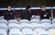 29 August 2020; Dundalk interim head coach Filippo Giovagnoli, centre, with assistant coach Giuseppe Rossi, left, and opposition analyst Shane Keegan, right, during the Extra.ie FAI Cup Second Round match between Drogheda United and Derry City at United Park in Drogheda, Louth. Photo by Stephen McCarthy/Sportsfile