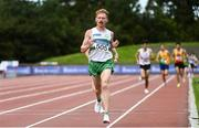 29 August 2020; Sean Tobin of Clonmel AC, Tipperary, crosses the line to win the Men's 10,000m event during day three of the Irish Life Health National Senior and U23 Athletics Championships at Morton Stadium in Santry, Dublin. Photo by Sam Barnes/Sportsfile
