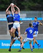 29 August 2020; Tom Lahiff of St Jude's in action against Adam Fearon of Skerries Harps during the Dublin County Senior Football Championship Quarter-Final match between St Jude's and Skerries Harps at Parnell Park in Dublin. Photo by Piaras Ó Mídheach/Sportsfile