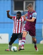 29 August 2020; James Akintunde of Derry City in action against Derek Prendergast of Drogheda United during the Extra.ie FAI Cup Second Round match between Drogheda United and Derry City at United Park in Drogheda, Louth. Photo by Stephen McCarthy/Sportsfile
