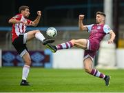 29 August 2020; Richie O'Farrell of Drogheda United in action against Joe Thomson of Derry City during the Extra.ie FAI Cup Second Round match between Drogheda United and Derry City at United Park in Drogheda, Louth. Photo by Stephen McCarthy/Sportsfile