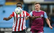 29 August 2020; James Akintunde of Derry City in action against Conor Kane of Drogheda United during the Extra.ie FAI Cup Second Round match between Drogheda United and Derry City at United Park in Drogheda, Louth. Photo by Stephen McCarthy/Sportsfile