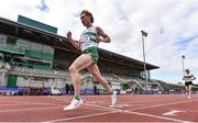 29 August 2020; Sean Tobin of Clonmel AC, Tipperary, celebrates as he crosses the line to win the Men's 10,000m event during day three of the Irish Life Health National Senior and U23 Athletics Championships at Morton Stadium in Santry, Dublin. Photo by Sam Barnes/Sportsfile