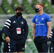 29 August 2020; Michael Milne, left, and Ciarán Frawley of Leinster ahead of the Guinness PRO14 Round 15 match between Ulster and Leinster at the Aviva Stadium in Dublin. Photo by Ramsey Cardy/Sportsfile