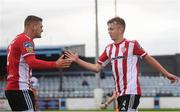29 August 2020; Ciaron Harkin, right, celebrates with his Derry City team-mate Colm Horgan after scoring his side's first goal during the Extra.ie FAI Cup Second Round match between Drogheda United and Derry City at United Park in Drogheda, Louth. Photo by Stephen McCarthy/Sportsfile