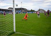 29 August 2020; Stephen Mallon of Derry City scores his side's second goal past Drogheda United goalkeeper Ross Treacy during the Extra.ie FAI Cup Second Round match between Drogheda United and Derry City at United Park in Drogheda, Louth. Photo by Stephen McCarthy/Sportsfile