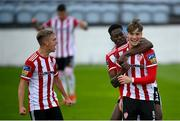 29 August 2020; Stephen Mallon, right, celebrates with Derry City team-mates Ibrahim Meite and Ciaron Harkin, left, after scoring their second goal during the Extra.ie FAI Cup Second Round match between Drogheda United and Derry City at United Park in Drogheda, Louth. Photo by Stephen McCarthy/Sportsfile