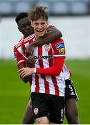 29 August 2020; Stephen Mallon of Derry City celebrates, with team-mate Ibrahim Meite, left, after scoring their second goal during the Extra.ie FAI Cup Second Round match between Drogheda United and Derry City at United Park in Drogheda, Louth. Photo by Stephen McCarthy/Sportsfile