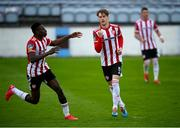 29 August 2020; Stephen Mallon of Derry City celebrates, with team-mate Ibrahim Meite, left, after scoring his side's second goal during the Extra.ie FAI Cup Second Round match between Drogheda United and Derry City at United Park in Drogheda, Louth. Photo by Stephen McCarthy/Sportsfile