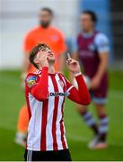 29 August 2020; Stephen Mallon of Derry City celebrates after scoring his side's second goal during the Extra.ie FAI Cup Second Round match between Drogheda United and Derry City at United Park in Drogheda, Louth. Photo by Stephen McCarthy/Sportsfile