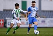 29 August 2020; Mark Russell of Finn Harps in action against Seán McEvoy of Bray Wanderers during the Extra.ie FAI Cup Second Round match between Bray Wanderers and Finn Harps at Carlisle Grounds in Bray, Wicklow. Photo by Harry Murphy/Sportsfile