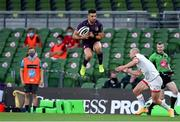29 August 2020; Cian Kelleher of Leinster takes a crossfield kick as Matt Faddes of Ulster comes to tackle during the Guinness PRO14 Round 15 match between Ulster and Leinster at the Aviva Stadium in Dublin. Photo by Brendan Moran/Sportsfile