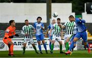 29 August 2020; Alex Kolger of Finn Harps heads to score his side's first goal past Brian Maher of Bray Wanderers during the Extra.ie FAI Cup Second Round match between Bray Wanderers and Finn Harps at Carlisle Grounds in Bray, Wicklow. Photo by Harry Murphy/Sportsfile