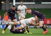 29 August 2020; Jacob Stockdale of Ulster is tackled by Rory O'Loughlin, left, Rob Kearney, centre, and Ciarán Frawley of Leinster during the Guinness PRO14 Round 15 match between Ulster and Leinster at the Aviva Stadium in Dublin. Photo by Ramsey Cardy/Sportsfile