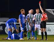 29 August 2020; Paul Keegan of Bray Wanderers receives a red card from referee Robert Hennessy during the Extra.ie FAI Cup Second Round match between Bray Wanderers and Finn Harps at Carlisle Grounds in Bray, Wicklow. Photo by Harry Murphy/Sportsfile