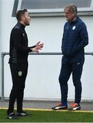 29 August 2020; Bray Wanderers manager Gary Cronin and Finn Harps manager Ollie Horgan speak prior to the Extra.ie FAI Cup Second Round match between Bray Wanderers and Finn Harps at Carlisle Grounds in Bray, Wicklow. Photo by Harry Murphy/Sportsfile
