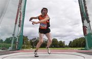 29 August 2020; Mark Tierney of Nenagh Olympic AC, Tipperary, competing in the Men's Discus event during day three of the Irish Life Health National Senior and U23 Athletics Championships at Morton Stadium in Santry, Dublin. Photo by Sam Barnes/Sportsfile