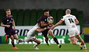 29 August 2020; Cian Kelleher of Leinster is tackled by James Hume, left, and Matt Faddes of Ulster during the Guinness PRO14 Round 15 match between Ulster and Leinster at the Aviva Stadium in Dublin. Photo by Ramsey Cardy/Sportsfile