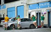30 August 2020; Clonoulty Rossmore players get ready in the car park prior to during the Tipperary County Senior Hurling Championships Quarter-Final match between Clonoulty/Rossmore and Loughmore-Castleiney at Semple Stadium in Thurles, Tipperary. Photo by Harry Murphy/Sportsfile
