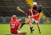 30 August 2020; Kevin Mahony of Ballygunner has his shot blocked by Jason Roche of Passage during the Waterford County Senior Hurling Championship Final match between Passage and Ballygunner at Walsh Park in Waterford. Photo by Seb Daly/Sportsfile