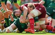 30 August 2020; Niall Murray of Connacht is tackled by Peter O'Mahony of Munster during the Guinness PRO14 Round 15 match between Munster and Connacht at the Aviva Stadium in Dublin. Photo by Brendan Moran/Sportsfile
