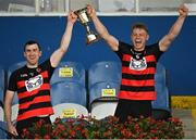 30 August 2020; Ballygunner joint captains Barry Coughlan, left, and Philip Mahony lift the trophy following their side's victory during the Waterford County Senior Hurling Championship Final match between Passage and Ballygunner at Walsh Park in Waterford. Photo by Seb Daly/Sportsfile