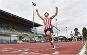 30 August 2020; Harry Purcell of Trim AC, Meath, celebrates as he crosses the line to win the Men's 800m event during day four of the Irish Life Health National Senior and U23 Athletics Championships at Morton Stadium in Santry, Dublin. Photo by Sam Barnes/Sportsfile