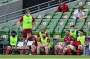 30 August 2020; Peter O'Mahony and Tadhg Beirne of Munster sit in the sin bin after both being shown yellow cards late in the first half of the Guinness PRO14 Round 15 match between Munster and Connacht at the Aviva Stadium in Dublin. Photo by Brendan Moran/Sportsfile