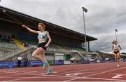 30 August 2020; Iseult O'Donnell of Raheny Shamrock AC, Dublin, celebrates as she crosses the line to win the Women's 800m event during day four of the Irish Life Health National Senior and U23 Athletics Championships at Morton Stadium in Santry, Dublin. Photo by Sam Barnes/Sportsfile