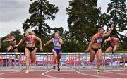 30 August 2020; Sarah Quinn of St. Colmans South Mayo AC, second from left, on her way to winning the Women's 100m Hurdles, ahead of Lilly-Ann O'Hora of Dooneen AC, Limerick, second from right, who finished second, and Molly Scott of St Laurence O'Toole AC, Carlow, centre, who finished third, during day four of the Irish Life Health National Senior and U23 Athletics Championships at Morton Stadium in Santry, Dublin. Photo by Sam Barnes/Sportsfile