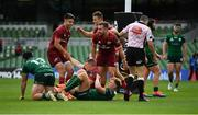 30 August 2020; Andrew Conway of Munster celebrates scoring his side's fifth try with team-mates Conor Murray, Shane Daly and JJ Hanrahan during the Guinness PRO14 Round 15 match between Munster and Connacht at the Aviva Stadium in Dublin. Photo by Brendan Moran/Sportsfile