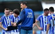 30 August 2020; Ballyboden St Enda's Director of Coaching Brian O'Regan speaking to his players during the Dublin County Senior Football Championship Quarter-Final match between Ballyboden St Enda's and Raheny at Parnell Park in Dublin. Photo by Piaras Ó Mídheach/Sportsfile