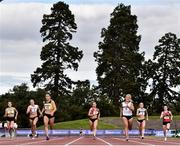 30 August 2020;  Phil Healy of Bandon AC, Cork, 12, crosses the line to win the Women's 200m  event, ahead of Sarah Lavin of Emerald AC, Limerick, 8, who finished second, during day four of the Irish Life Health National Senior and U23 Athletics Championships at Morton Stadium in Santry, Dublin. Photo by Sam Barnes/Sportsfile