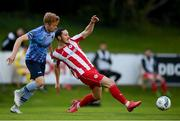 30 August 2020; Ronan Coughlan of Sligo Rovers in action against Paul Doyle of UCD during the Extra.ie FAI Cup Second Round match between UCD and Sligo Rovers at UCD Bowl in Belfield, Dublin. Photo by Stephen McCarthy/Sportsfile