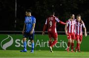 30 August 2020; Ronan Coughlan celebrates with Sligo Rovers team-mate David Cawley, right, after scoring his side's second goal during the Extra.ie FAI Cup Second Round match between UCD and Sligo Rovers at UCD Bowl in Belfield, Dublin. Photo by Stephen McCarthy/Sportsfile
