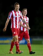 30 August 2020; Teemu Penninkangas, left, and Jesse Devers of Sligo Rovers following the Extra.ie FAI Cup Second Round match between UCD and Sligo Rovers at UCD Bowl in Belfield, Dublin. Photo by Stephen McCarthy/Sportsfile