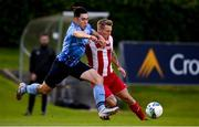 30 August 2020; Liam Kerrigan of UCD in action against Jesse Devers of Sligo Rovers during the Extra.ie FAI Cup Second Round match between UCD and Sligo Rovers at UCD Bowl in Belfield, Dublin. Photo by Stephen McCarthy/Sportsfile