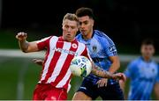 30 August 2020; Jesse Devers of Sligo Rovers in action against Evan Osam of UCD during the Extra.ie FAI Cup Second Round match between UCD and Sligo Rovers at UCD Bowl in Belfield, Dublin. Photo by Stephen McCarthy/Sportsfile