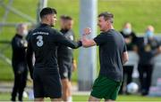 31 August 2020; Republic of Ireland manager Stephen Kenny, right, and John Egan during a Republic of Ireland training session at the FAI National Training Centre in Abbotstown, Dublin. Photo by Stephen McCarthy/Sportsfile