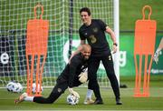 31 August 2020; Republic of Ireland coach Keith Andrews, right, and Darren Randolph during a Republic of Ireland training session at the FAI National Training Centre in Abbotstown, Dublin. Photo by Stephen McCarthy/Sportsfile