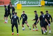 31 August 2020; Dara O'Shea, centre, and team-mates in action during a Republic of Ireland training session at the FAI National Training Centre in Abbotstown, Dublin. Photo by Stephen McCarthy/Sportsfile