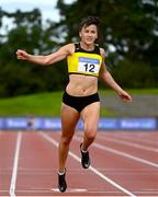 30 August 2020;  Phil Healy of Bandon AC, Cork, centre, on her way to winning the Women's 200m event during day four of the Irish Life Health National Senior and U23 Athletics Championships at Morton Stadium in Santry, Dublin. Photo by Sam Barnes/Sportsfile