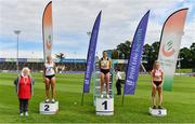 30 August 2020; Athletics Ireland President Georgina Drumm, left, alongside Women's 200m medallists, from left, Sarah Lavin of Emerald AC, Limerick, silver, Phil Healy of Bandon AC, Cork, gold, and Lauren Roy of City of Lisburn AC, Down, bronze, during day four of the Irish Life Health National Senior and U23 Athletics Championships at Morton Stadium in Santry, Dublin. Photo by Sam Barnes/Sportsfile