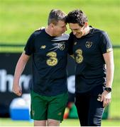 31 August 2020; Republic of Ireland manager Stephen Kenny, left, and coach Keith Andrews during a training session at the FAI National Training Centre in Abbotstown, Dublin. Photo by Stephen McCarthy/Sportsfile