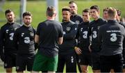 31 August 2020; Republic of Ireland players, from left, Shane Long, Sean Maguire, Callum Robinson, Shane Duffy, Seamus Coleman, Darragh Lenihan and James McCarthy listen to manager Stephen Kenny during a Republic of Ireland training session at the FAI National Training Centre in Abbotstown, Dublin. Photo by Stephen McCarthy/Sportsfile